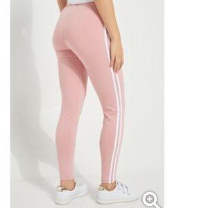 New blush pink pale rose high rise stripe leggings